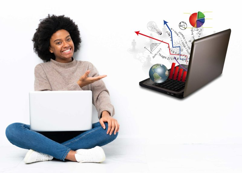 Unza online courses female student learning and writes something